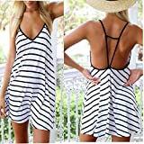 Arich Lady Sexy Summer Fashion Cool Black And White Stripes Loose V-neck Halter Dress XL