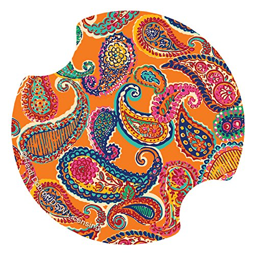(Thirstystone Colorful Paisley Car Cup Holder Coaster, 2-Pack)