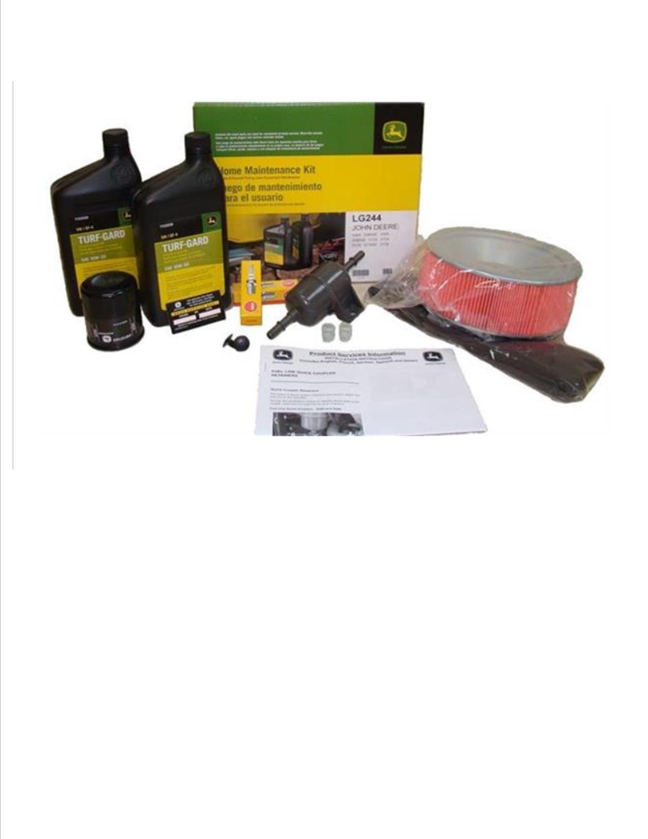 John Deere Maintenance Kit for X485, X485SE, X585, X585SE, X720, X724, X728, X728 SE Lawn Mower Filters, Oil LG244