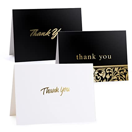 amazon com 50 gold foil thank you cards bulk thank you notes