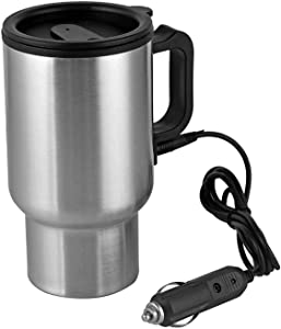 Coffee Mug 12V Car Heating Cup Up To 150°F, 15 Oz Stainless Steel Travel Electric Coffee Cup Insulated Heated Thermos Mug For Also Tea & Milk