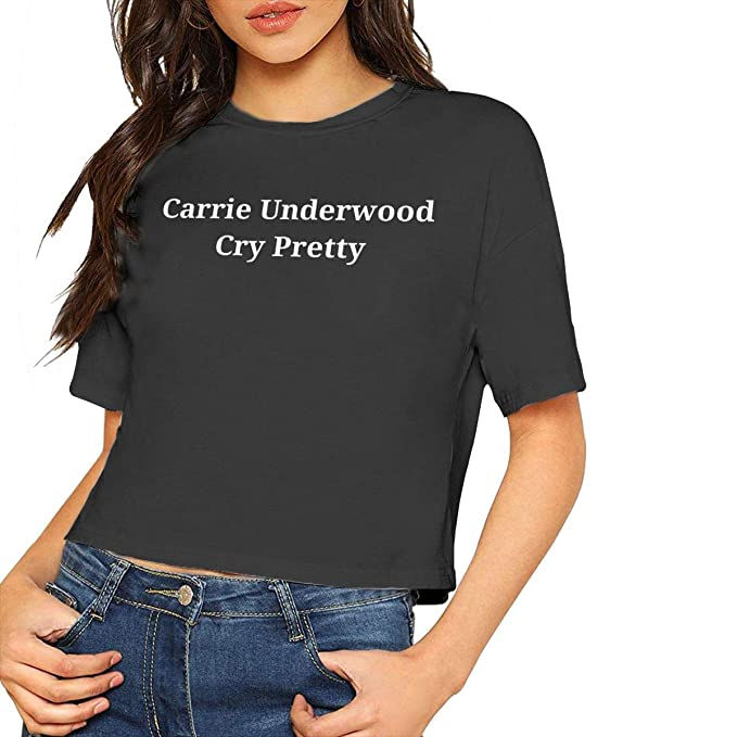 a5d946b95ca5 Carrie Underwood Cry Pretty Sexy Exposed Navel Female T-Shirt Bare Midriff  Crop Top Black