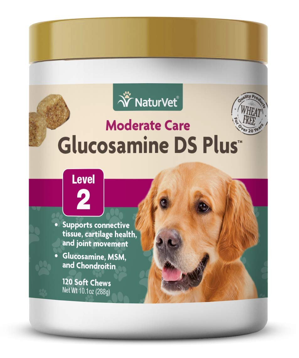 NaturVet – Glucosamine DS Plus – Level 2 Moderate Care – Supports Healthy Hip & Joint Function – Enhanced with Glucosamine, MSM & Chondroitin – for Dogs & Cats – 120 Soft Chews