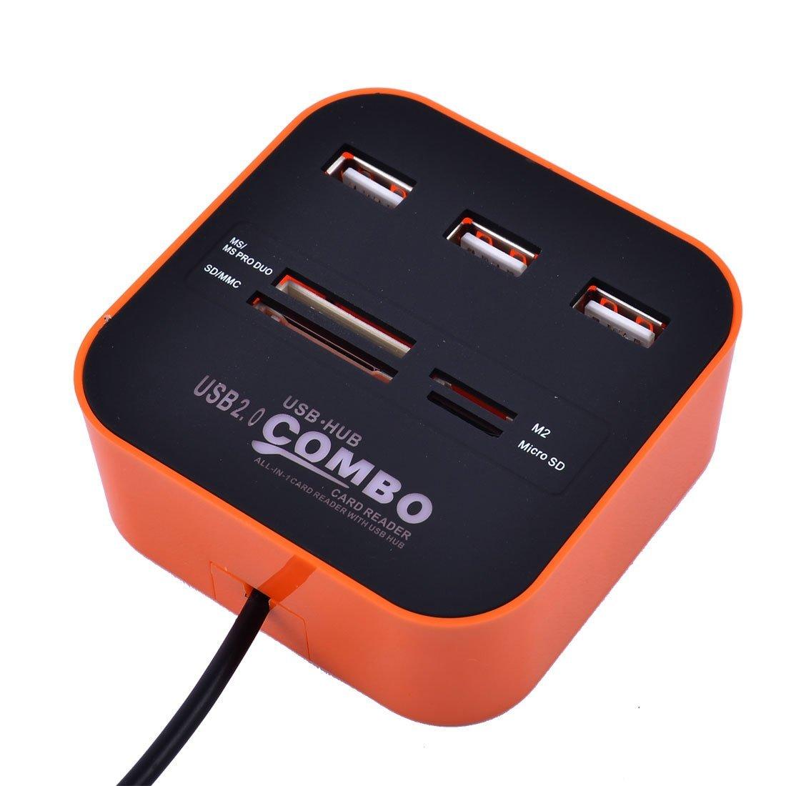 Amazon.com: eDealMax PC portátil de tarjeta de Memoria Luz LED DE 7 puertos USB 2.0 Hub USB Peine Tarjeta Naranja del Lector: Electronics