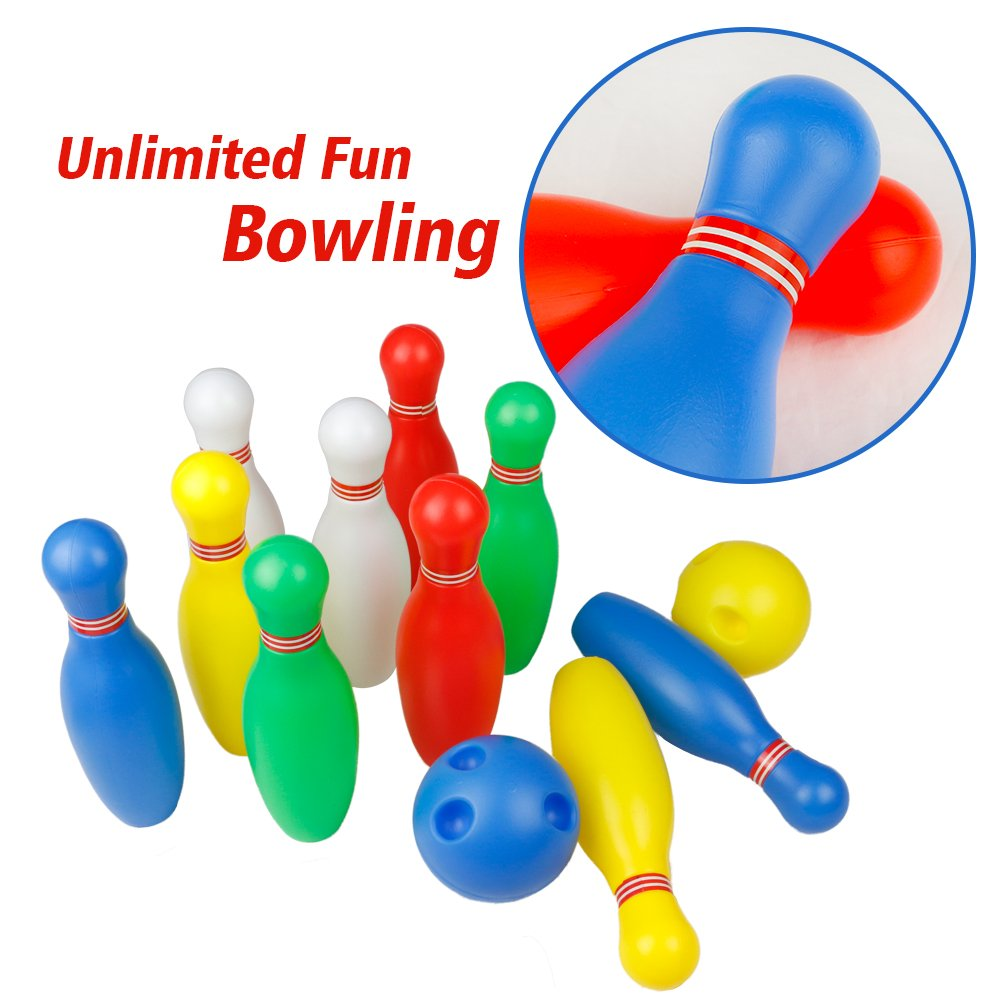 Bowling Ball Games Funny Plastics Bowling set Kit Toys Educational Toy Party Favors with 10 Mini Plastic Pins and 2 Balls, Great Gift for Baby Kids Toddlers Boys Girls 2 3 4 5 Years, 12Pcs
