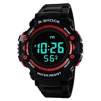 Y56 Sport LED Resistente al Agua Digital Watch Reloj de Pulsera, Mode Outdoor Cuarzo analógico Hombre Mujer Relojes Chica Joven, Color Rojo: Amazon.es: ...