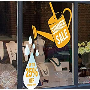 Window Stickers Large Sunflower Yellow Up to 25% Off Selected Items Summer Sale Watering Can Sale Discount Shop Window Cling Sticker - Seasonal Window Stickers