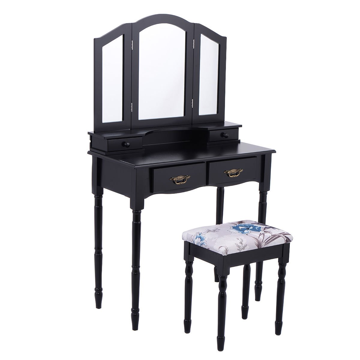 Giantex Tri Folding Mirror Vanity Makeup Table Stool Set Home Furni W/4 Drawers (Black)