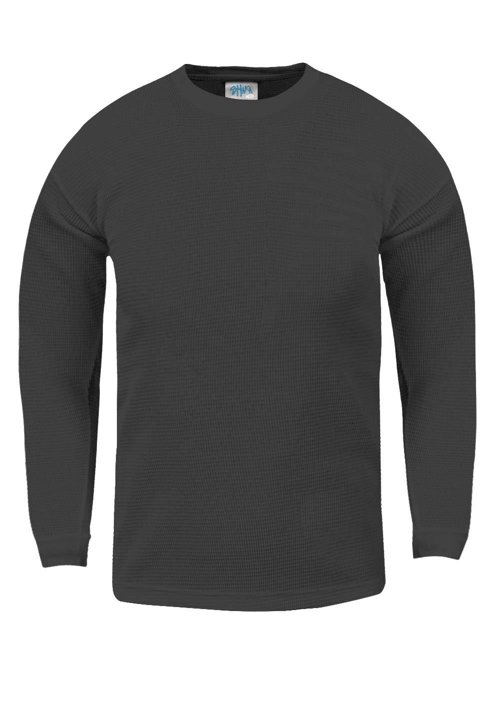 Shaka Wear KTC21_XS Thermal Long Sleeve Crewneck Waffle Shirt C.Grey XS by Shaka Wear