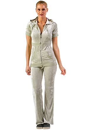 7f4317f5ac VERTIGO PARIS Women's Short Sleeve Logo Velour Tracksuit Jog Set
