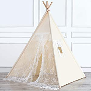 Kids Teepee Tent for Girls Lace Kids Play Tent Indoor & Outdoor with Carry Case & Bunting Room Decor