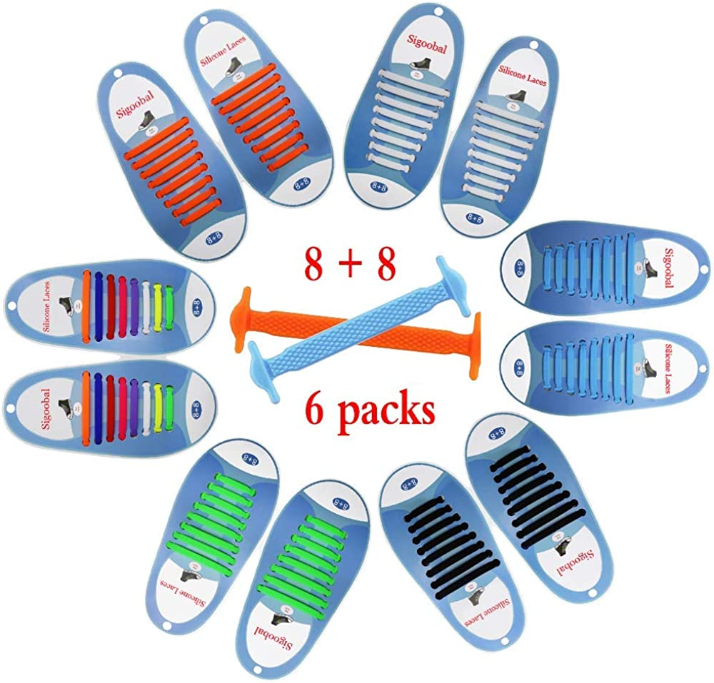 No Tie Shoelaces for Kids/Adults, Sports Fan Waterproof Silicone Elastic Tieless Shoe Laces Running Shoe Sneaker Boots Board Shoes and Casual Shoes (6 Pairs Color) …