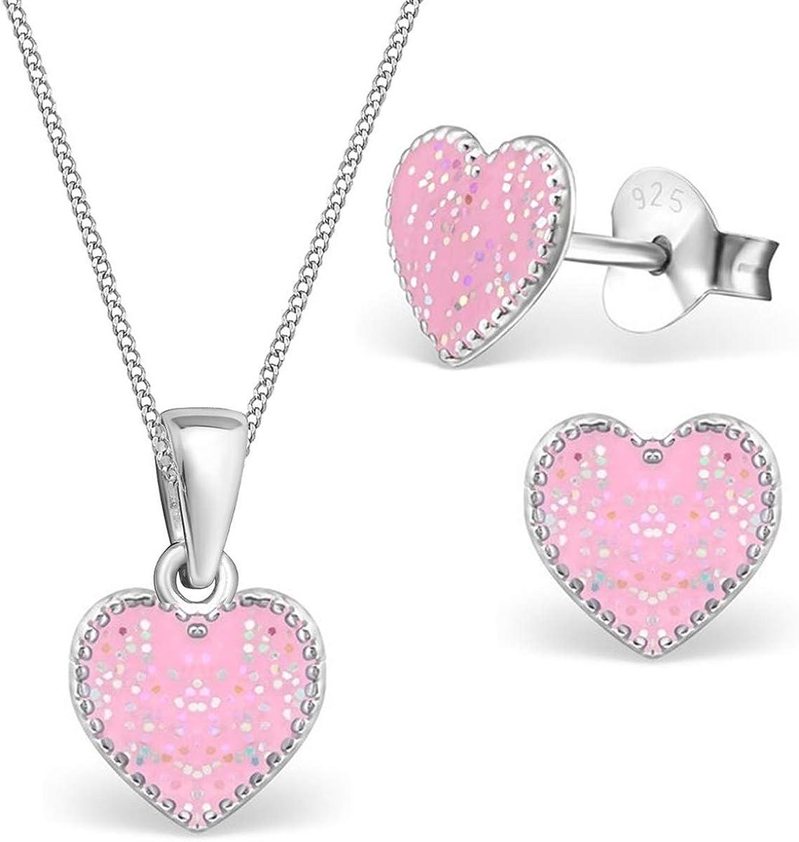 Kids Children/'s Pink Heart Sterling Silver Necklace