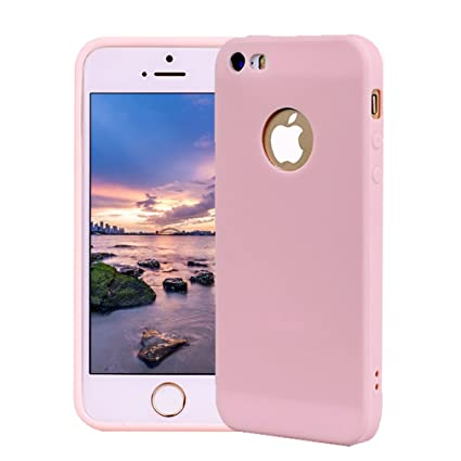 Funda iPhone 5, Carcasa iPhone 5S Silicona Gel, OUJD Mate Case Ultra Delgado TPU Goma Flexible Cover para iPhone 5/SE - Rosa