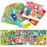 AMOSTING Early Learning Educational Button Art Toys Toddler, Color & Geometry Shape Matching Mosaic Puzzle Peg Board Games Preschool Kids