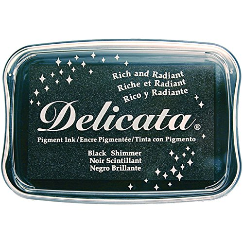 Tsukineko Delicata Black Shimmer Metallic Pigment Inkpad,