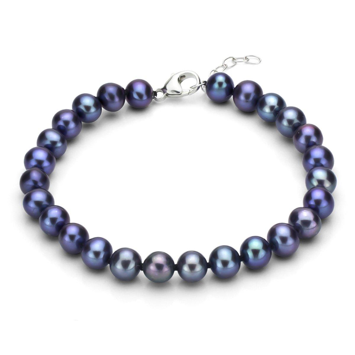 Sterling Silver 10-10.5mm Dyed-black Freshwater Cultured High Luster Pearl Bracelet, 7.5'' + 1''
