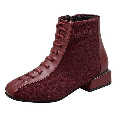 ZHRUI Botines para Mujer Zapatos de tacón bajo Flock Botas Cortas Botas Gruesas de Cordones Casuales