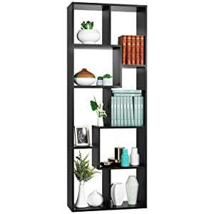 Homfa Bookshelf 8-Cube Bookcase DIY Free Standing Display Storage Shelves Decor Furniture for Living Room Library Home Office, Black