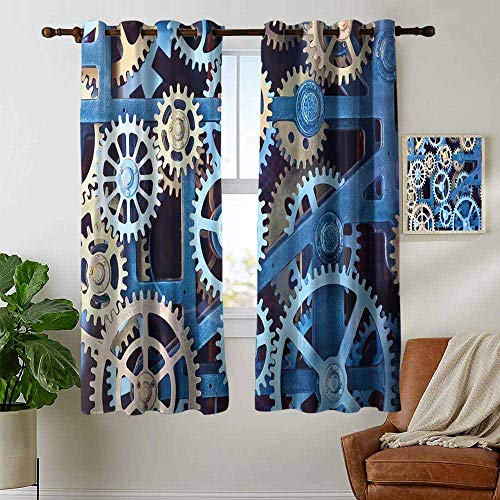 Curtains Clock,A Set of Clock Gears Steel Cogwheels Pattern Mechanical Theme Design Print,Blue and Sand Brown,Treatments Thermal Insulated Light Blocking Drapes Back for Bedroom 42