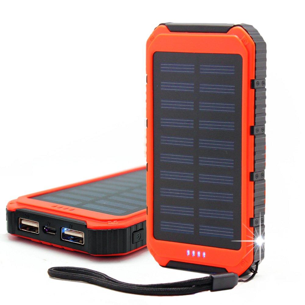 Bovon Cargador Solar, 10000mAh Batería Externa Portátil Panel Solar Doble USB Puertos Banco de Energía para iPhone Samsung Android Móviles y Otros ...