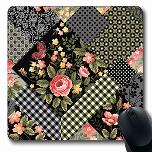 (LifeCO Computer Mousepad Check Yellow Flower Patchwork Floral Pattern Red Roses Abstract Pink Quilt Sweet Leaf Vintage Design Oblong Shape 7.9 x 9.5 Inches Oblong Gaming Non-Slip Rubber Mouse Pad Mat)