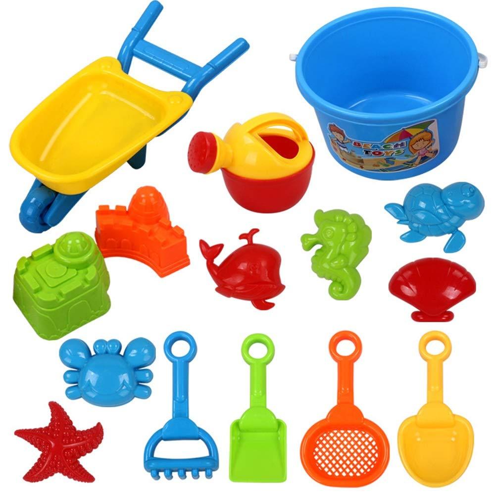 el mas reciente Set de juguetes de Jugara para niños Juego de cubo cubo cubo de Jugara de 15 piezas Juego de arena Juguetes acuáticos para niños con moldes Cubo Cocheretillas de tres ruedas Rastrillos Tortuga Cangrejo Cangrejo de  el más barato