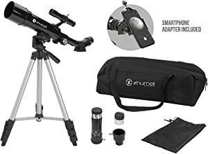 Zhumell Z50 Portable Refractor with Tripod, Phone Adapter & Carry Bag, Black