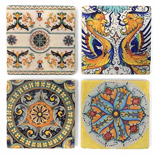 Studio Vertu Arte D'Italia Tumbled Marble Coasters, Set of 4 ()