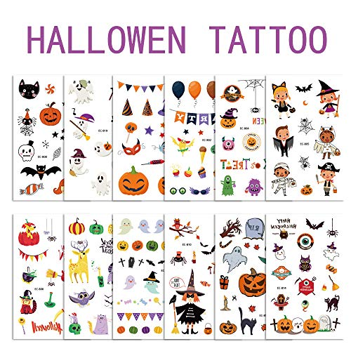 Children's Toys Creative Stickers Tattoos Halloween Series of Super-fire Tattoo Stickers, Horrible Pumpkin Head Design Suitable for Boys and Girls Tattoos.