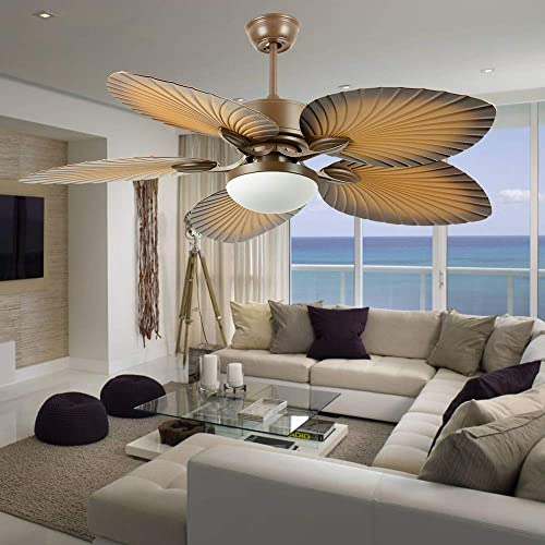 Andersonlight Palm 52-Inch Tropical Indoor Ceiling Fan with LED Bowl Light Remote Control Fan, Five Hand Carved Wooden Leaf Blades, Quiet Home Fan Chandelier Light, 52 inches, Antique Brass