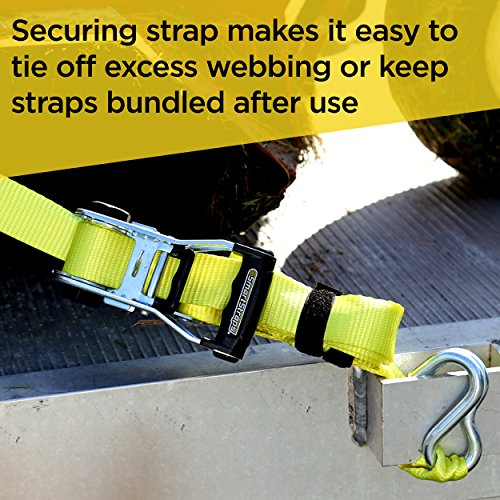 SmartStraps 14-Foot Ratchet Straps (2pk)-5,000 lbs Break Strength-1,667 lbs Safe Work Load Commercial Tie-Downs Designed for Heavy-Duty Cargo Transport-Safely Haul Your Equipment-Flatbed or Trailer by SmartStraps (Image #5)