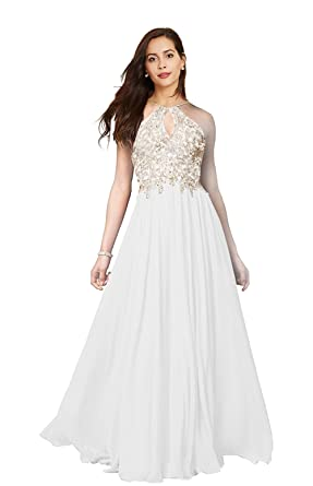 Lily Wedding Womens Halter Gold Applique Prom Bridesmaid Dresses 2019 Long  Chiffon Evening Formal Gown White Plus Size 20