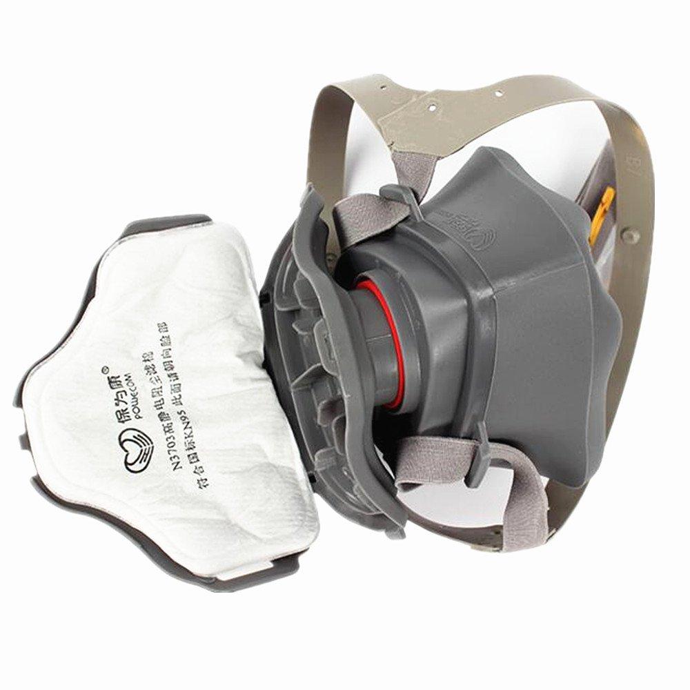 Yocome Half Face Anti-Dust Respirator Máscara de seguridad con correa ajustable para la pintura en casa, gas industrial, 20 piezas de filtro reemplazable de ...