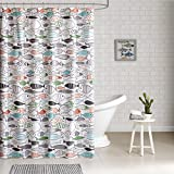 Fabric Shower Curtains with Fish HipStyle - Sardinia - Modern Multi-color Fish - Cotton Printed - Designer Shower Curtain - 72