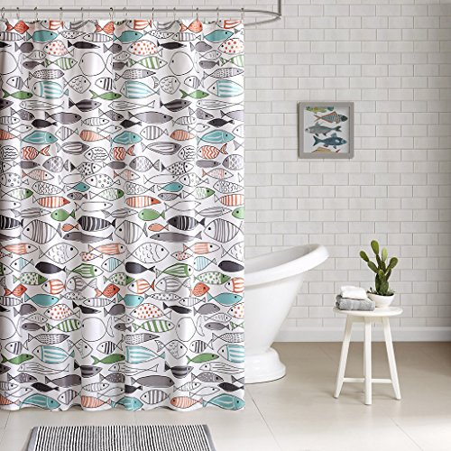 "- Sardinia - Modern Multi-color Fish - Cotton Printed - Designer Shower Curtain - 72"" x 72"" - Machine Washable"