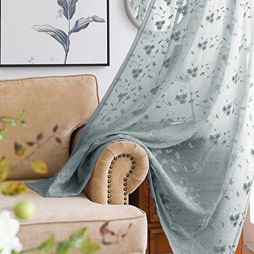 Crushed Sheer 84 Inch Curtain - Floral Embroidered Voile Curtain Panels for Bedroom Rustic Crushed Sheer Window Covering for Living Room 84 inches Long Curtain Set Rod Pocket Top Drapes (2 Panels, Grey)