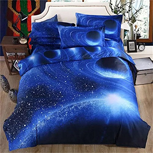3D Galaxy Bedding Duvet Cover Set Stars Galaxy Space Polyester Duvet Cover Flat Sheet 2 Pillowcases 4-Piece Twin