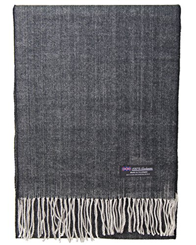 (2 PLY 100% Cashmere Scarf Elegant Collection Made in Scotland Wool Solid Plaid (Black Herringbone)