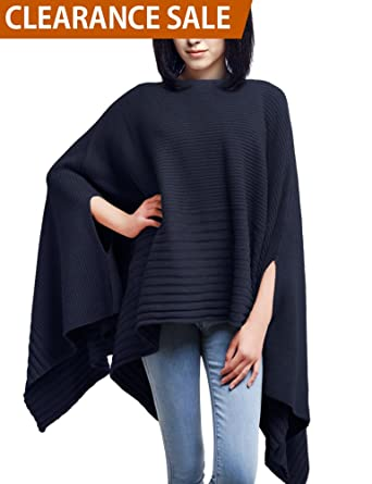 01a11fa7211a DELUXSEY Loose Mix Knit Ponchos Capes for Women Womens Pullovers ...