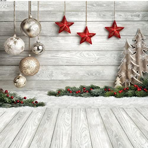 SJOLOON 10x10ft Christmas Balls Red Stars Hang on Wood Floor Thin Vinyl Customized Photography Backdrop Prop Photo Background 10383