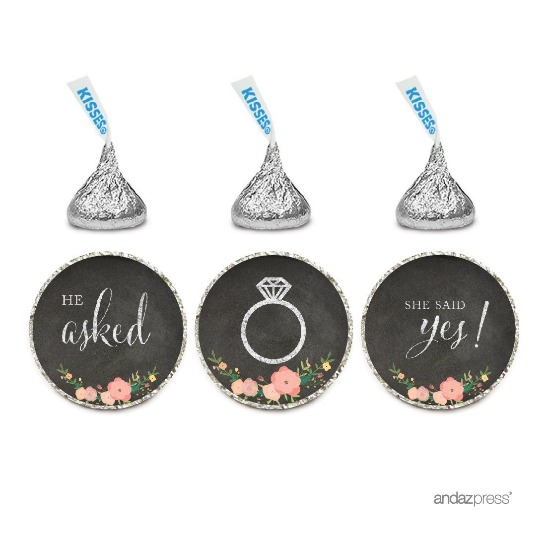 Amazon.com: Andaz Press Chocolate Drop Labels Stickers, Wedding He ...