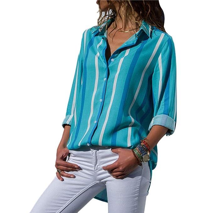 Baijiaye Mujeres V Cuello Blusas Elegante Colorido Camisas A Rayas Gasa Camisetas de Manga Larga con