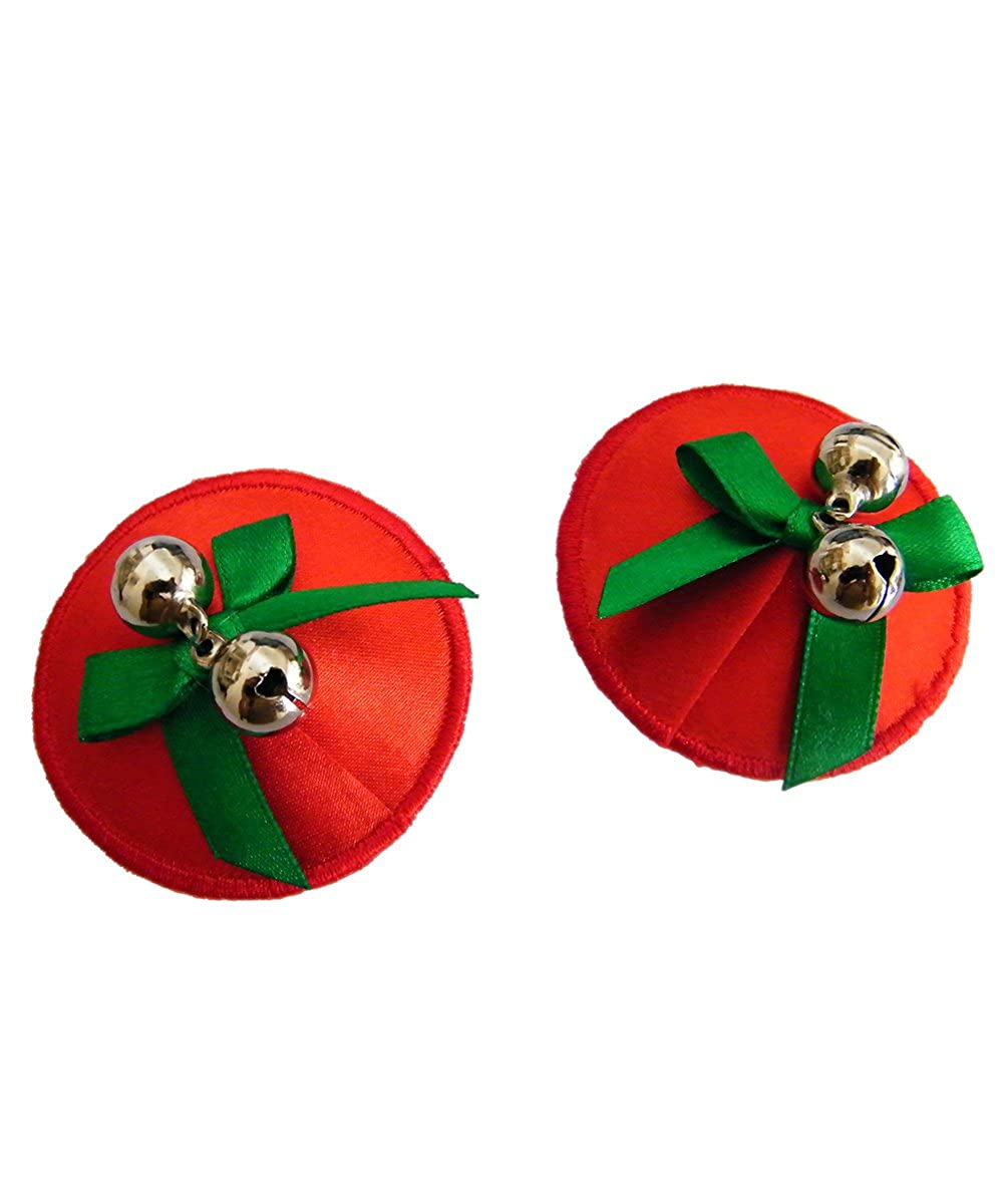 Ladies Bell Nipple Cover Red Christmas Sequin Pasties Jingle Reusable UK STOCK
