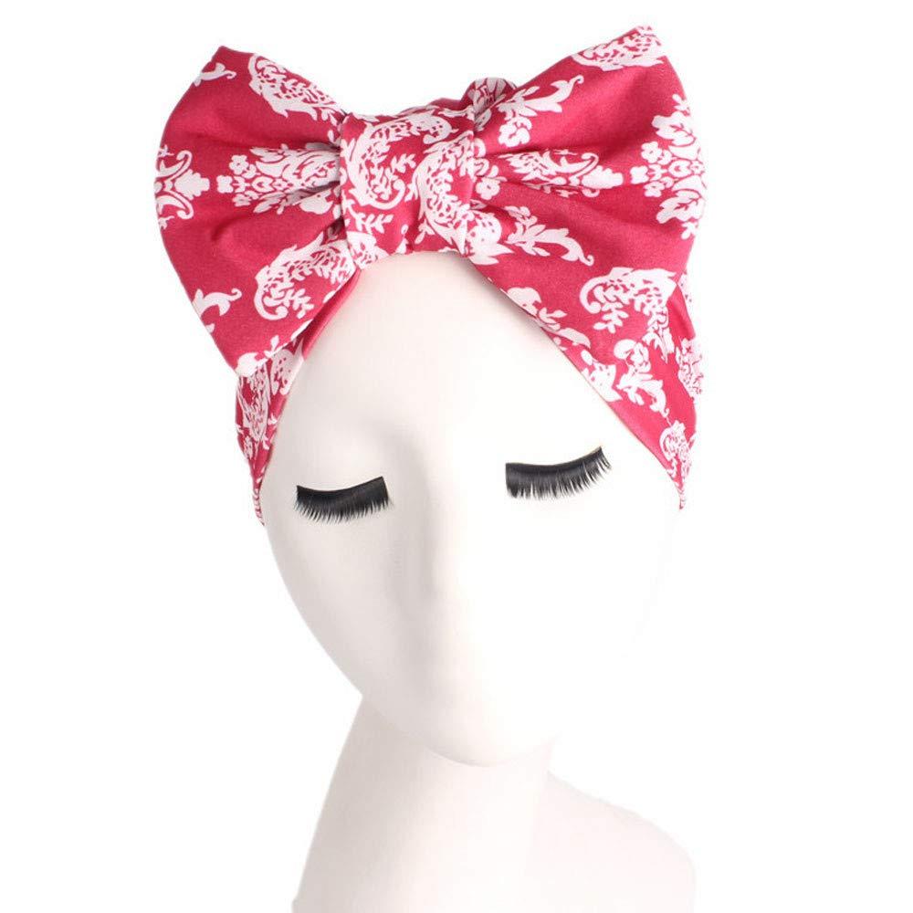 HiGOGO Fashion Women Retro Floral Country Garden Bow Elastic Hat Turban Brim Hat Scarf Headwear Bandana Collar Cap Pile Cap