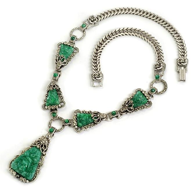 1930s Jewelry | Art Deco Style Jewelry 1930s Deco Vintage Glass Lavaliere Necklace $139.00 AT vintagedancer.com