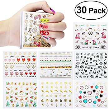 Amazon Com New 50 Sheets 3d Design Nail Art Sticker Tip Decal
