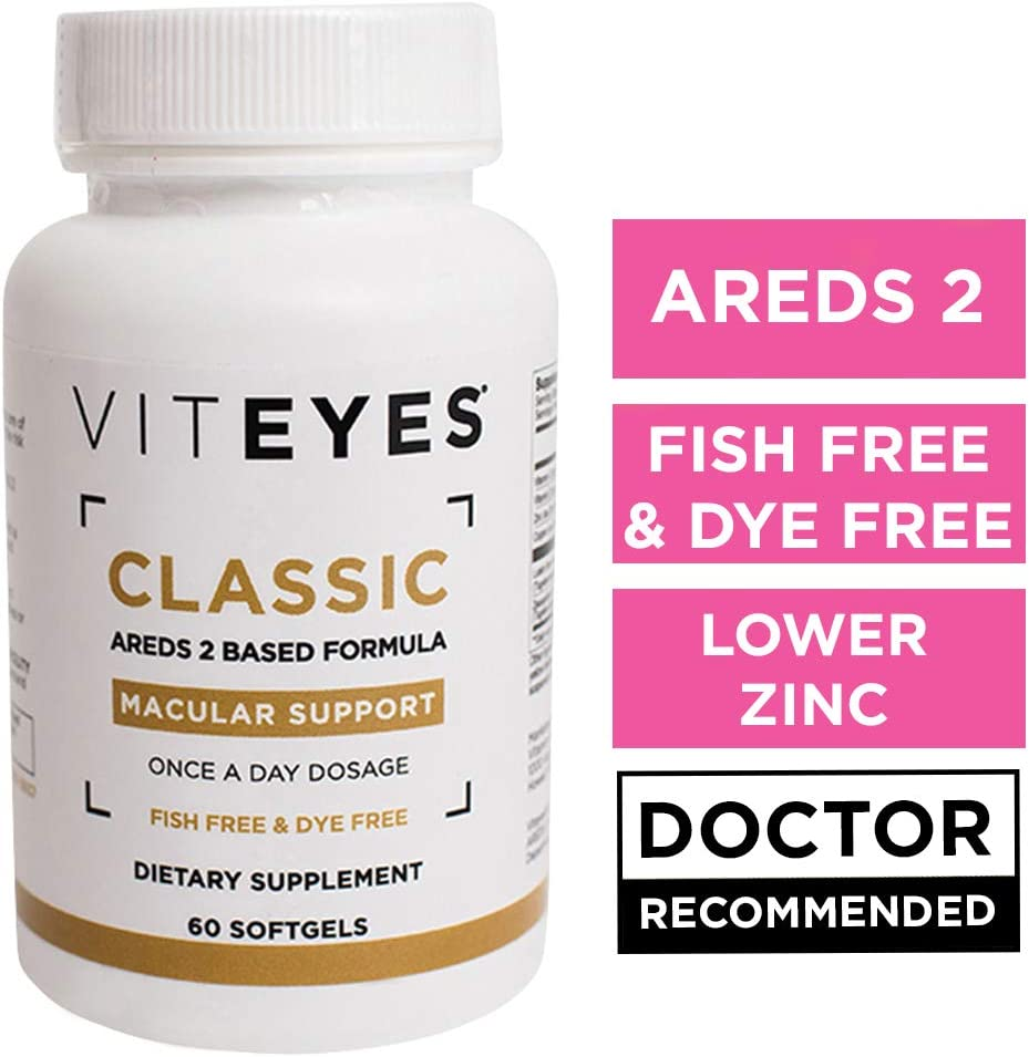 VITEYES Classic AREDS 2 Softgels, Promotes Eye Health and Protects Vision, 60 Count - Single Daily Dose Eye Vitamin, Fish Free, Dye Free