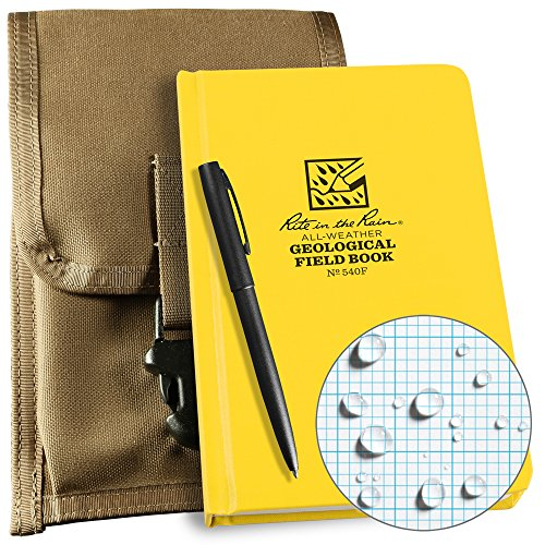 Field Pouch - Rite in the Rain Weatherproof Geological Kit: Tan CORDURA Fabric Pouch Cover, Geological Hard Cover Notebook, and an Weatherproof Pen (No. 540F-KIT)