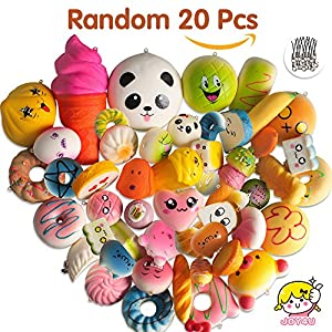 Squishies Slow Rising Toys, JOY4U Random 20 Pcs Soft Squishies Kawaii Jumbo/Medium/Mini Squishys Simulation Food as Stress Relief Toys/Party Favors/Squishies Charms for Boys and Girls